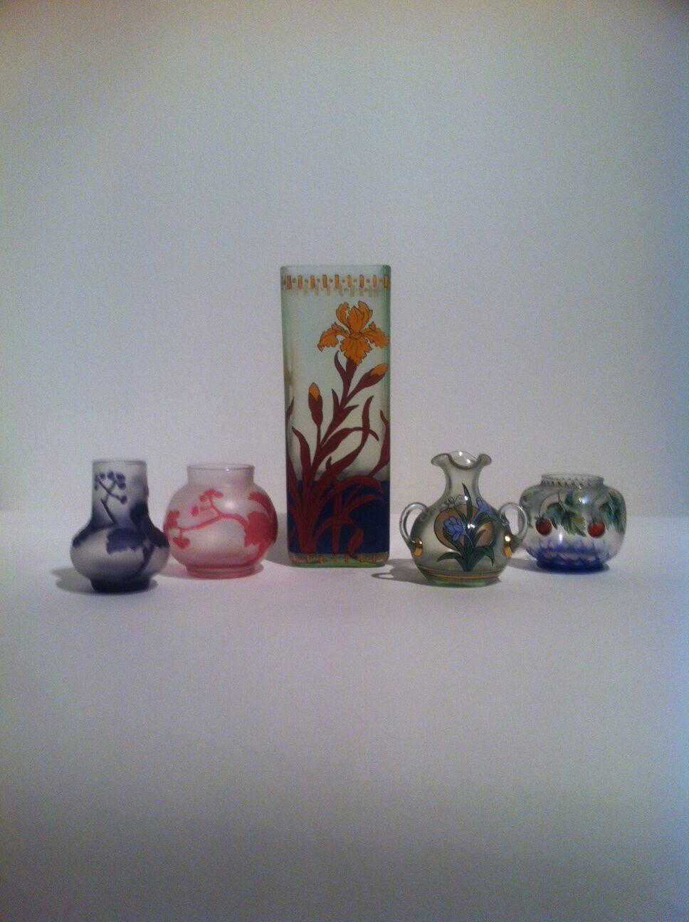 5 Vasen von Fritz Heckert, Petersdorf (Schlesien) um 1900