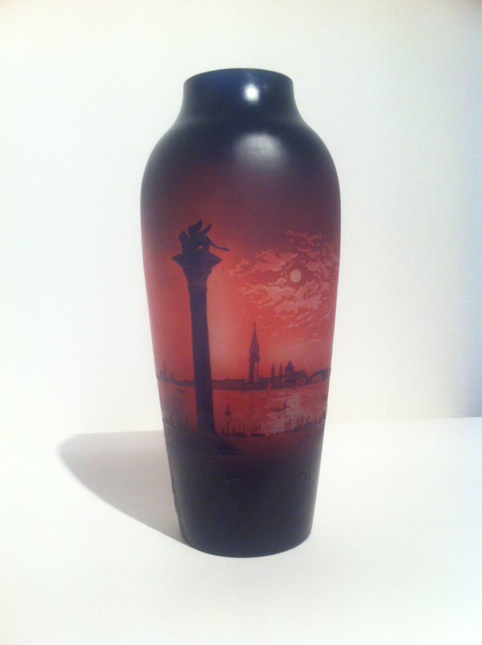 Vase Venezia, Paul Nicolas signiert D'Argental, Frankreich um 1920